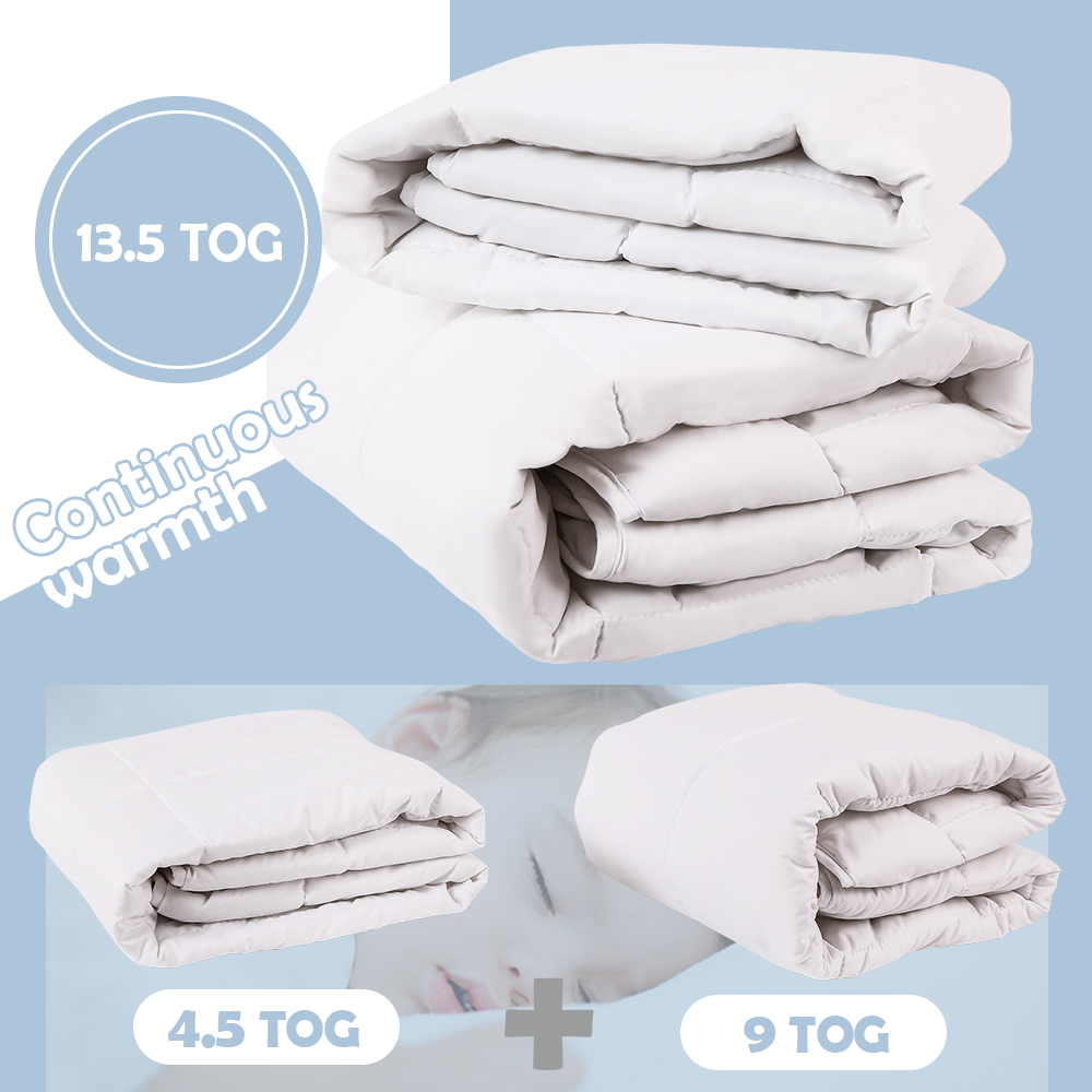 I-baby Baby Duvet All Season Duo Set, Oeko Tex Certified, Includes 1PC 4.5 TOG For Spring Summer & 1PC Duvet 9 TOG For Autumn