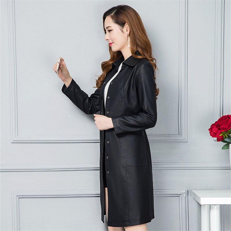 Moto Long Surdimensionné Femmes Streetwear Plus Pu La Printemps 2018 Parkas Taille Manteau Noir Noir vert Vert XwXPqxrd
