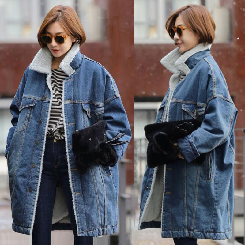 Spring Autumn Winter New 2019 Women Wool jean Coat With Pockets Warm Jeans Coat Female Jacket