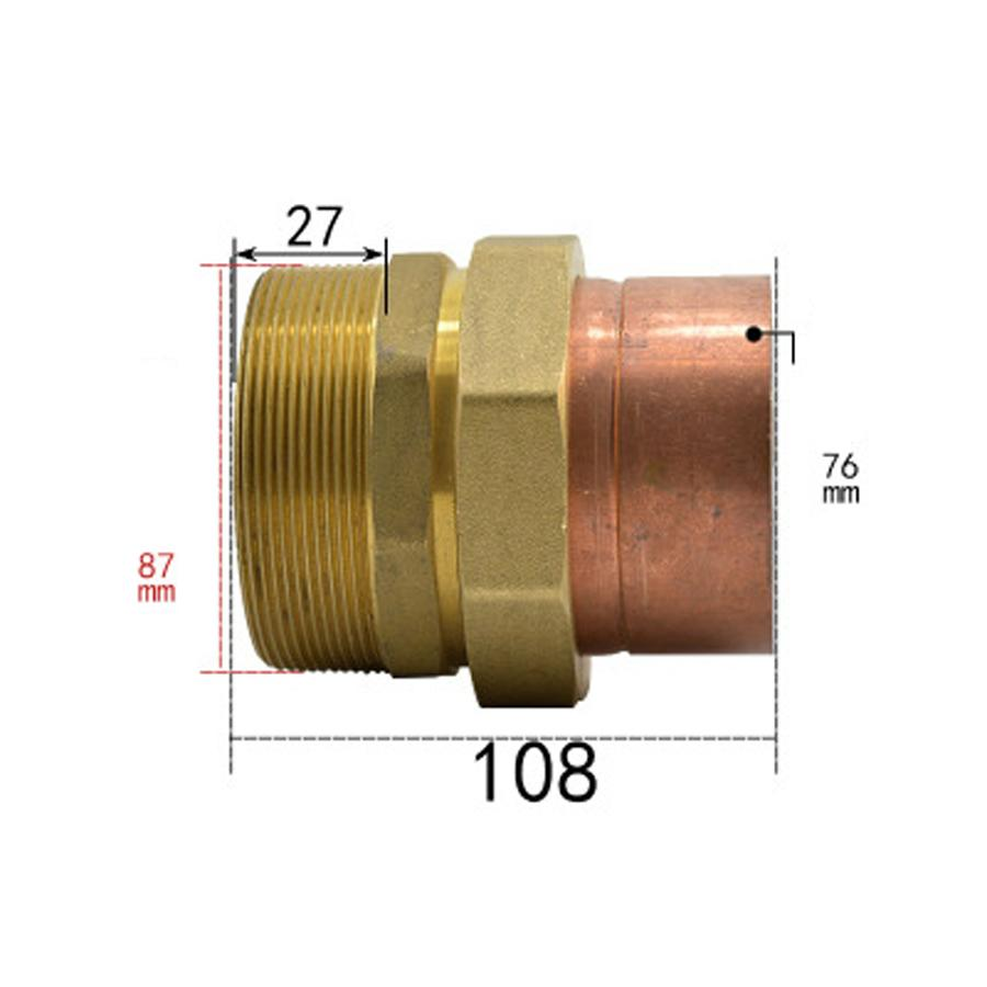 DN85 G 3 BSPPD Male x Copper Inner Dia 76mm Brass Copper End Feed Fitting Union Connector Coupler Adapter Water Gas Oil women backpack high quality pu leather mochila escolar school bags for teenagers girls top handle backpacks herald fashion page 1