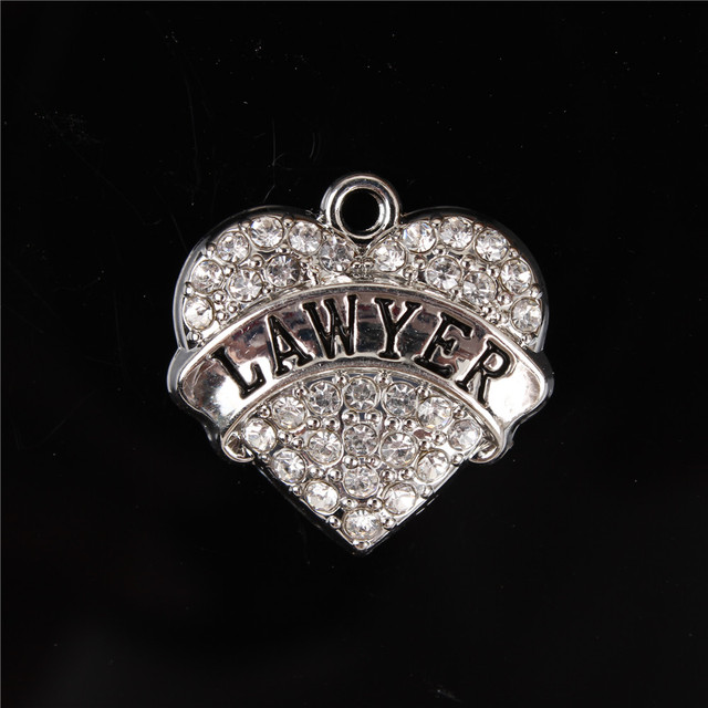New Arrival Love Heart Clear Crystal Rhinestone Charms Pendant For DIY Necklace Bracelet Keychain Party Birthday Lawyer Gift