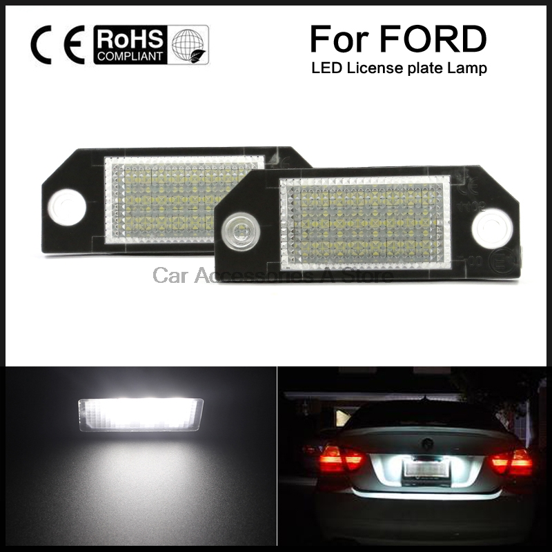 2pcs Car LED License Number Plate Light Lamp White Light for Ford Focus 2 C-Max hopstyling 2pcs direct fit white 18 smd car led license plate light lamp for nissan teana j31 j32 maxima cefiro number light