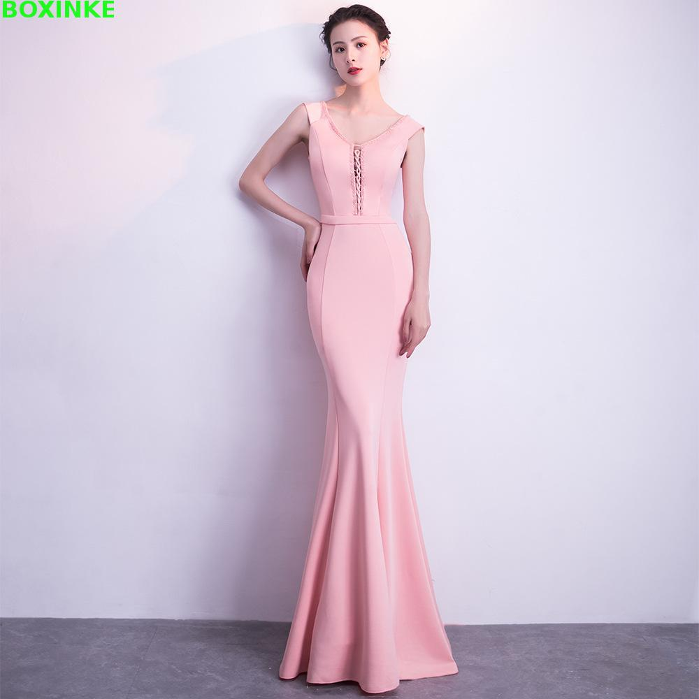 2018 Solid Plus Size Tank And Summer New Sexy Celebrity Fishtail Long Dress, Host, Banquet Temperament Thin, V Collar Dress