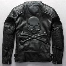 Мужская винтажная Байкерская кожаная куртка, Мужская воловья кожа, черепа, косая молния, натуральная кожа, пальто, Мужская байкерская куртка
