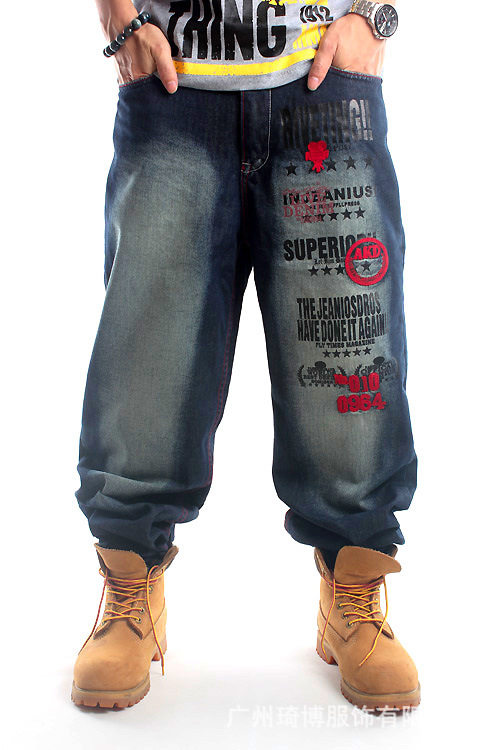 Mens Hip Hop Baggy Jeans With Embroidery For Street Dancing And Skatebord Loose Fit Wide Leg Pants Men Plus Size 42 44 46 6002 hot new large size jeans fashion loose jeans hip hop casual jeans wide leg jeans