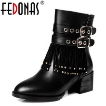 FEDONAS New Women Genuine Leather Ankle Winter Snow Boots Fashion Tassels High Heel Gothic Punk Golden Decoration Shoes Woman