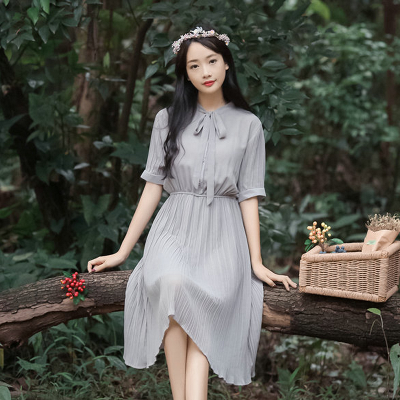 2018 Summer New Korean Women's Short-sleeved Elastic Waist Was Thin Chiffon Dress Long Bow Tie Solid Color Pleated Dress