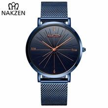 relogio masculino NAKZEN Brand Luxury Watches Men Fashion Creative Casual Analog Retro Stainless Steel Strap Quartz Watch все цены