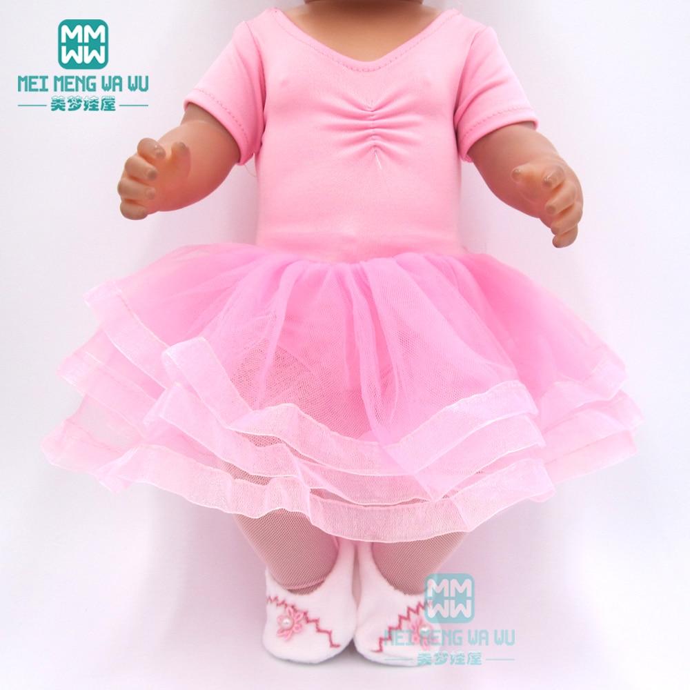 Ubrania dla dzieci dla lalka pasuje do 43cm noworodki lalki i amerykańska lalka różowe baleriny księżniczka sukienka