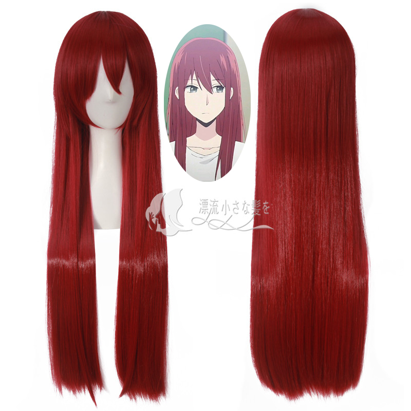 Anime Steins Gate Cosplay Wig Makise Kurisu Christina Assistant Long Straight Red Synthetic Hair