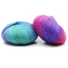 Włóczka kaszmirowa dzianiny Chunky ręcznie tkane wełniane Rainbow wełna kolorowe Knitting wyniki 100% wełny przędzy igły szydełka splot nici