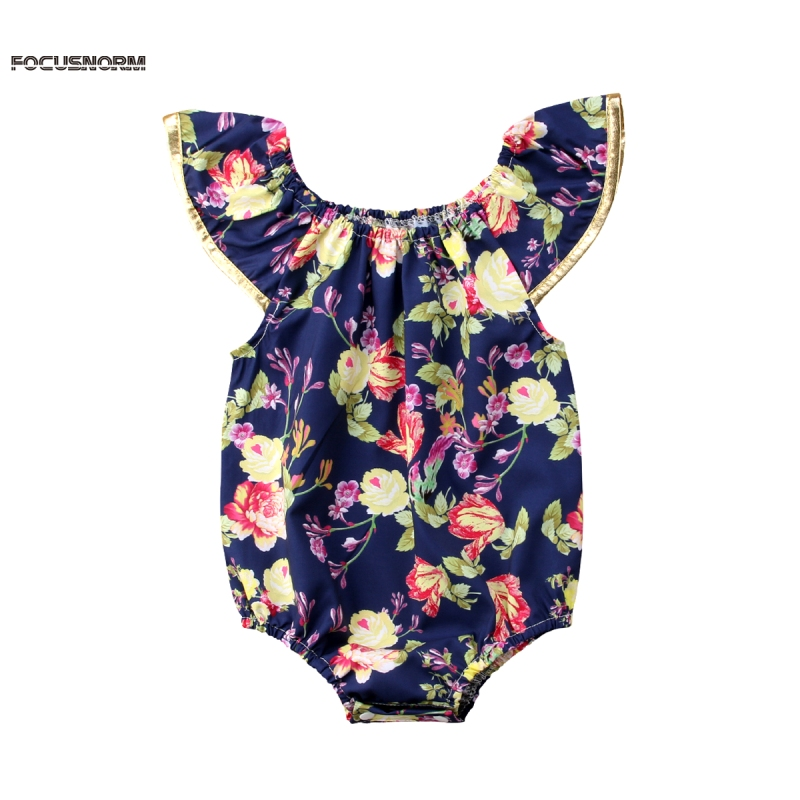 Newborn Infant Kids Baby Girl Floral Romper Fly Sleeve Jumpsuit Outfits Baby Girl Printed Fly Sleeve Romper Black
