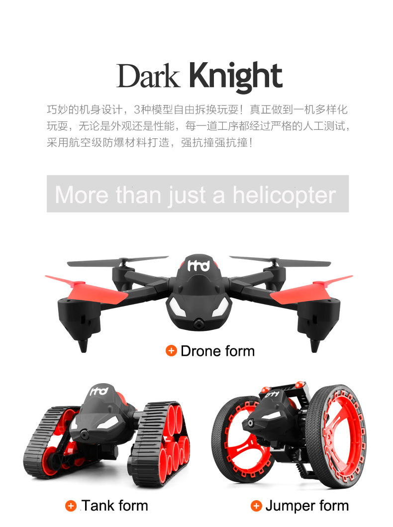 Novo tanque rc salto carro h3 wifi fpv diy 3 em 1 deformação headless aéreo rc drone câmera 2mp tanque de salto anfíbio carro brinquedos - 3