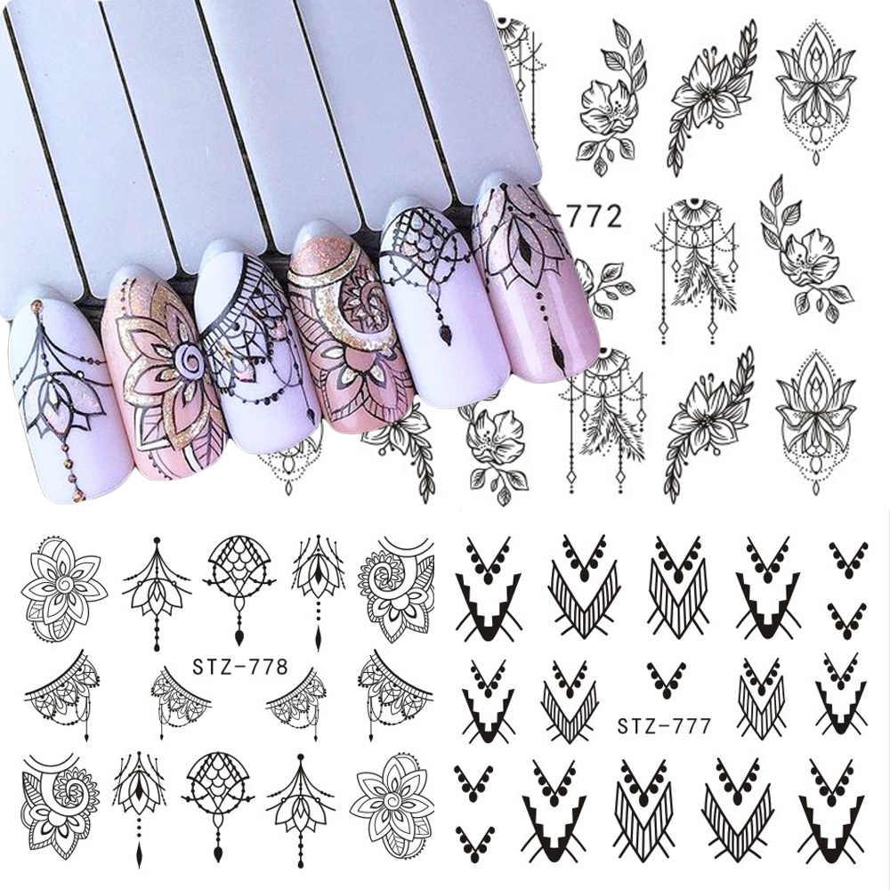 1 Buah Hitam Bunga Air Decals Hollow Geometri Slider untuk Dekorasi Nail Art Kartun Watermark Sticker Manikur JISTZ761-778