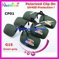 Рекомендуется 10 / 20 шт. CP01 зеленый - гери G15 очки очков очки поляризованные зажим солнечные очки TAC линзы с UV400