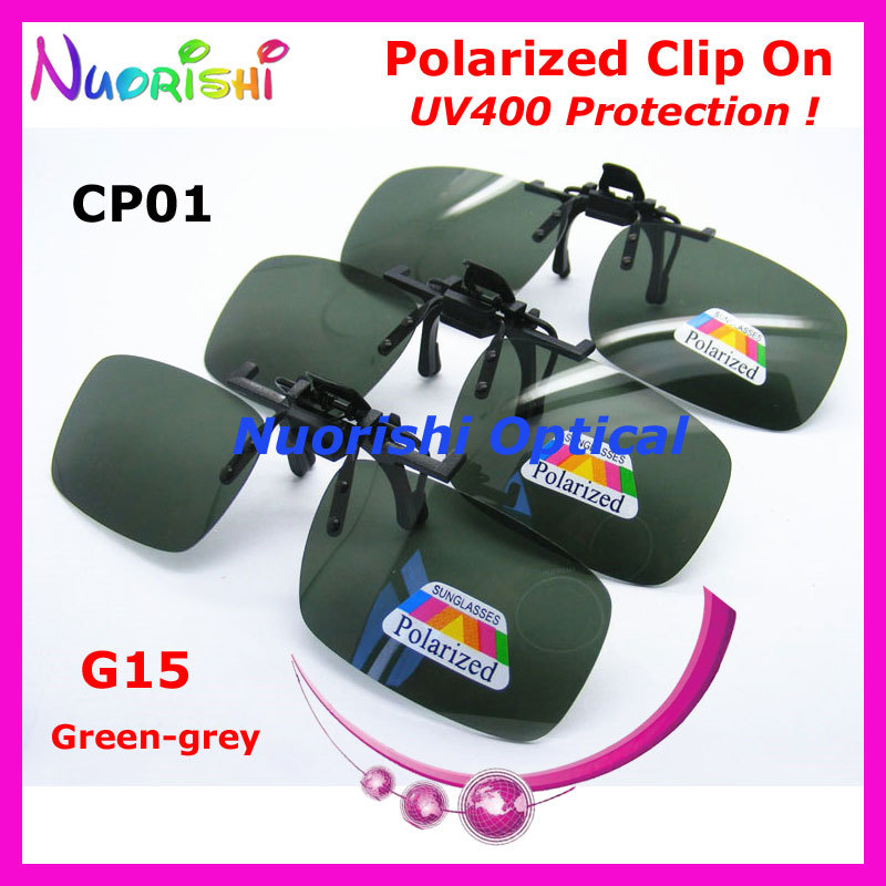 Recommended 10 20pcs CP01 Green gery G15 Glasses Eyeglass Eyewear Polarized Clip On Sunglasses TAC Lens