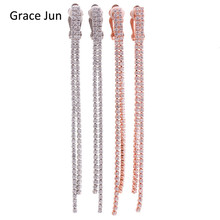 Grace Jun High Quality Copper AAA CZ Long 2 Strands Tassel Clip on Earrings Without Piercing  for Women Wedding Fine Jewelry New