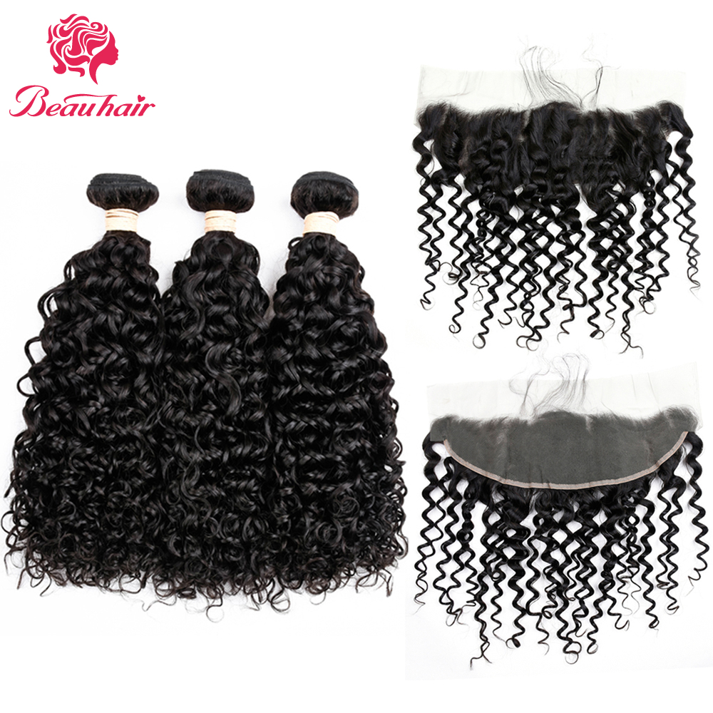 Beau Hair Brazilian Water Wave Human Hair 3 Bundles With Lace Frontal Brazilian Non Remy Hair Weave Extension Natural Black