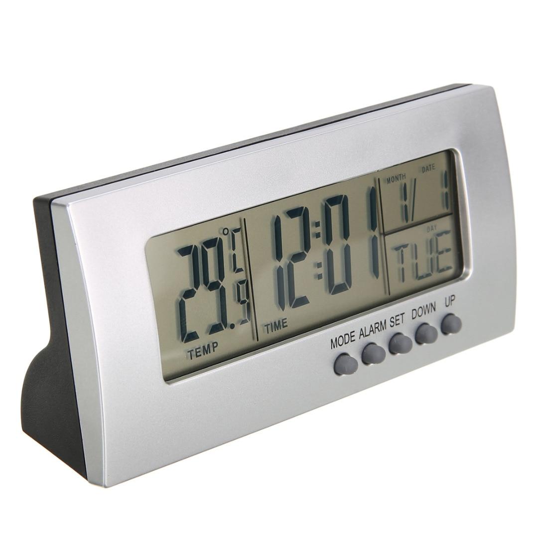 US $4 09 30% OFF|Modern Digital Alarm Clock LCD Display Calendar Snooze  Thermometer Alarm Clock Office Desktop Table Clock-in Alarm Clocks from  Home &