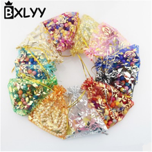 BXLYY 2019 Selling 50pc Wedding Decoration Rose Organza Candy Bag 7 * 9 9 * 12 Christmas Party Supplies New Year Gift Bag. 7z
