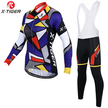 X-Tiger Winter Woman 's Cycling Jerseys Set Long Sleeve Cycling Clothing Pro Ropa Ciclismo Invierno MTB Bike Wear 2020