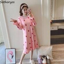 2a4b8b32f4db Nightgowns Women Cotton Print Kawaii Plus Size Long Sleeve Womens Sleepwear  Loose Casual Korean Style Simple