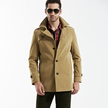 New Fashion Brand AFS JEEP Trench Men Spring Autumn Medium-long Jacket Men Casual & Business Slim Fit Trench Coat Male(China)