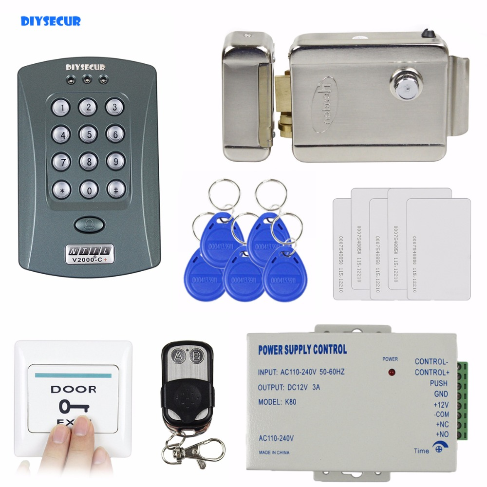 DIYSECUR Full Kit Set ID Card Reader Password Keypad Access Control System Security Kit + Electric Lock V2000-C diysecur magnetic lock door lock 125khz rfid password keypad access control system security kit for home office