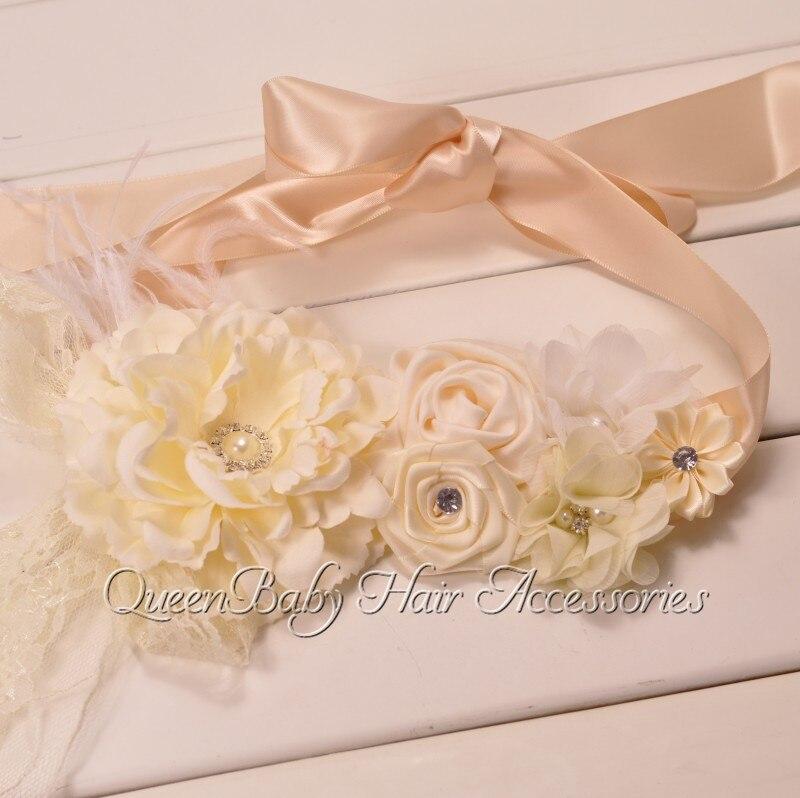 10pcs lot Ivory Peony Flower Sash Flower Sash Belt Maternity Sash