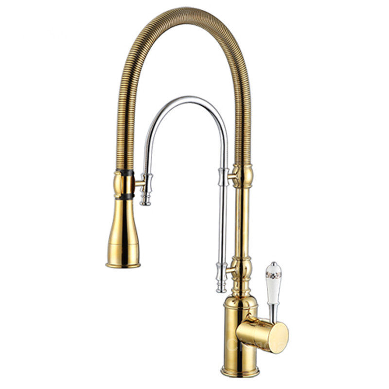 Kitchen Faucet Gold Brass Pull Down Kitchen Faucet Sink Mixer Tap Hot Cold Pull Out Spring Spout Unique Design Kitchen Faucet