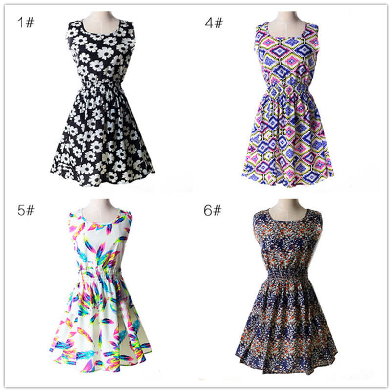 Woman Beach Dress Summer Boho Print Clothes Sleeveless Party Dress Casual Short Sundress Floral Dress Peacock Feathers Dresses (8)