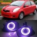 EeMrke Para Toyota Yaris Vitz 2005-2010 LED Angel Eye DRL Luzes de Nevoeiro Off-Road Luz de Circulação Diurna preto/Chapeamento de Nevoeiro Cobrir