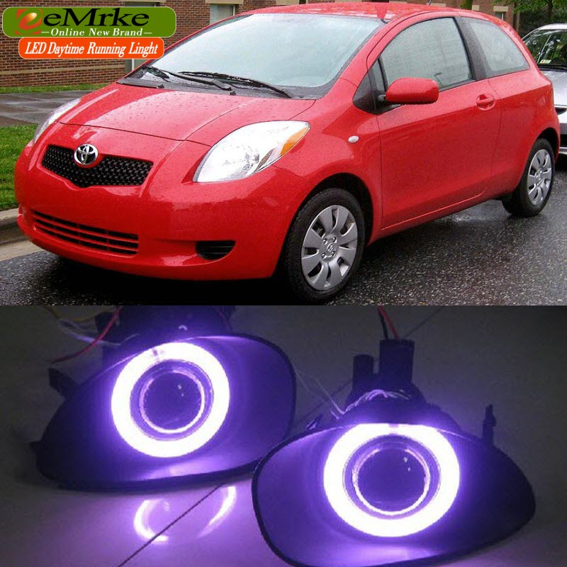 eeMrke For Toyota Vitz Yaris 2005-2010 LED Angel Eye DRL Fog Lights Off-Road Daytime Running Light  Black/ Plating Fog Cover bqlzr dc12 24v black push button switch with connector wire s ot on off fog led light for toyota old style