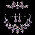 2016 Top qualidade Brilhante Multicor Rhinestone Nupcial conjuntos de Jóias De Casamento De Cristal Conjuntos de Jóias de Luxo para As Mulheres Acessórios