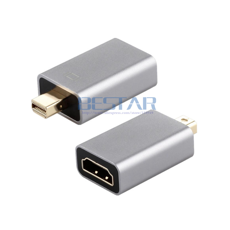 2018 Mini display port to HDMI Adapter Aluminum shell 1080P, Mini Displayport male to HDMI female Converter adaptor hdmi mini DP displayport male to hdmi female adapter black golden