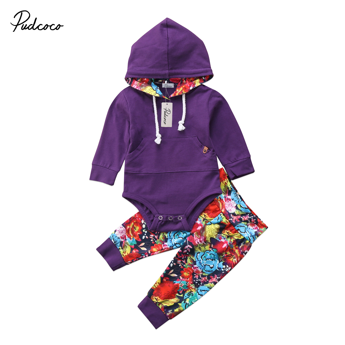 2Pcs Fashion Newborn Toddler Kids Baby Girl Hoodie Top Floral Pants Home Outfit Set Clothes Set 0-24M