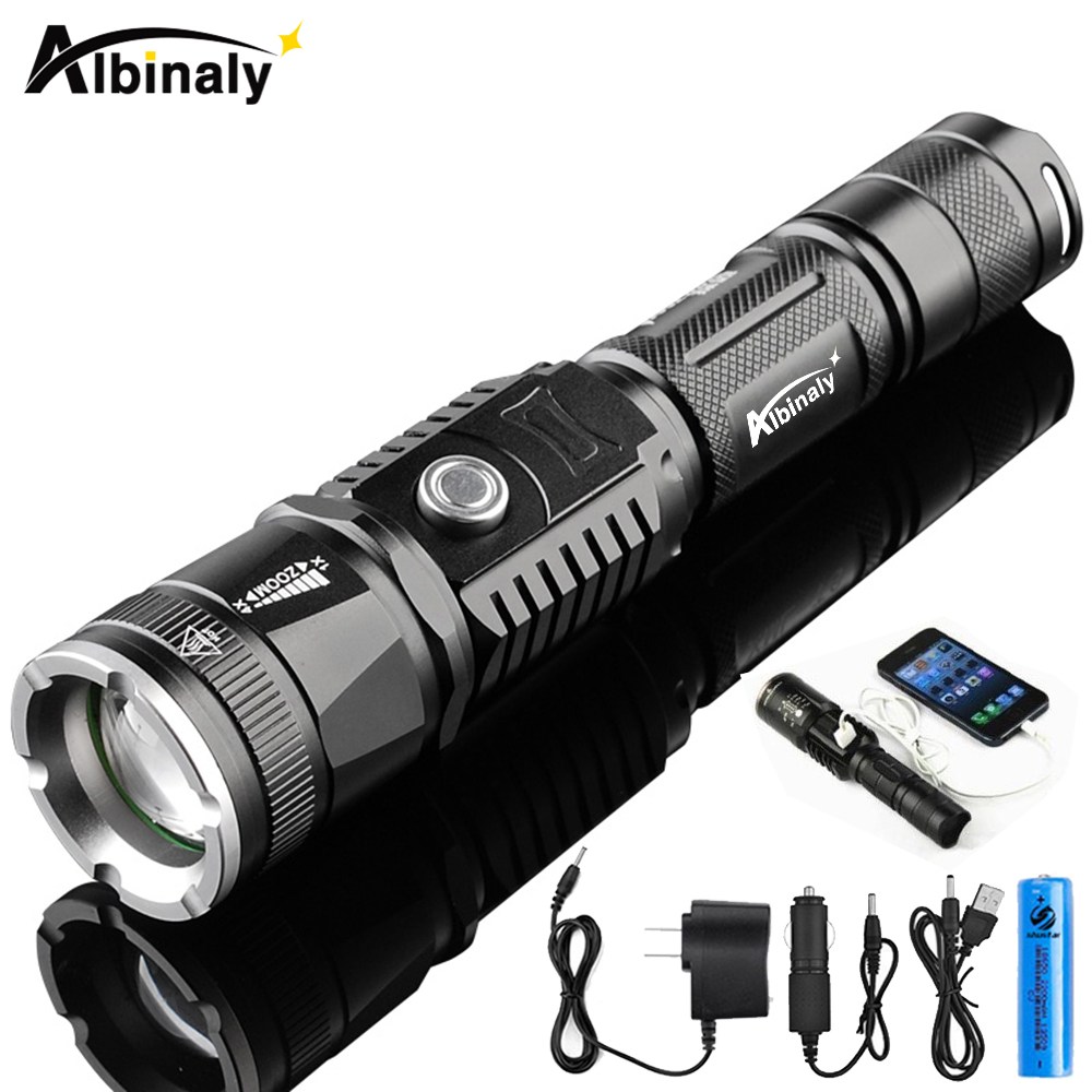 Rechargeable LED flashlight CREE XML-T6 5000 lumens torch USB interface to charge the phone Zooable 5 lighting modes with 18650 3 modes 1 xml t6 flashlight ultra bright torch display power rechargeable led flashlight by 1 18650 1 26650 battery