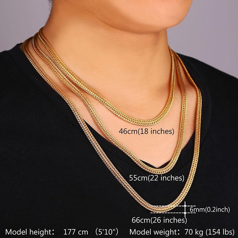 Men Long Foxtail Chain Necklace 6mm Width 32 Length Rose Gold
