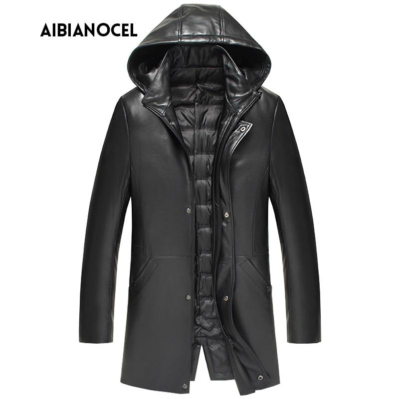 New Luxury Style Leather Coat Men Duck Down Leather Jacket Thick Mens Sheepskin Leather Jacket Real