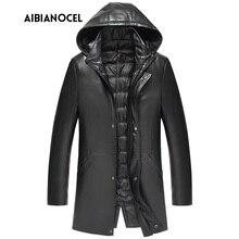 Новая роскошная стильная кожаная куртка для мужчин на утином пуху, толстая мужская кожаная куртка из овчины, мужская куртка из натуральной кожи с капюшоном