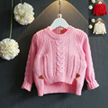 Girls solid cotton knitting sweater Long sleeve strpied before long after short sweater Fashion new winter autumn wool sweaters