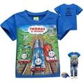 4-8y bebé ropa chicos camisetas 2016 del verano de la historieta Thomas corto manga vestir de los niños para el niño camiseta