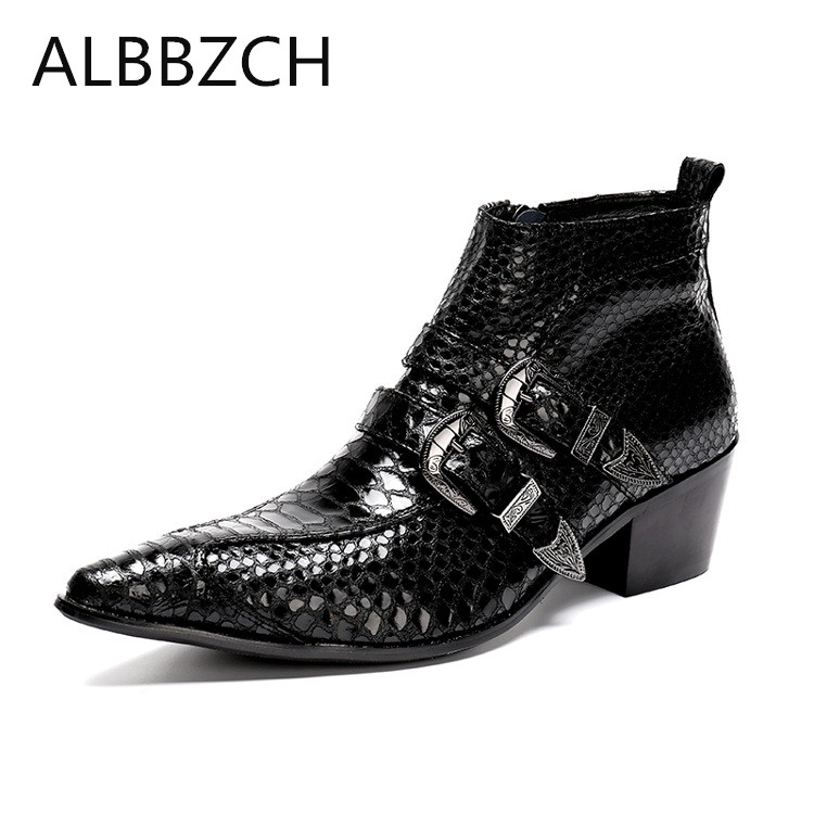 Black embossed leather men boots fashino buckle pointed toe ankle boots westorn cowboy luxury work boots mens career show bootsBlack embossed leather men boots fashino buckle pointed toe ankle boots westorn cowboy luxury work boots mens career show boots