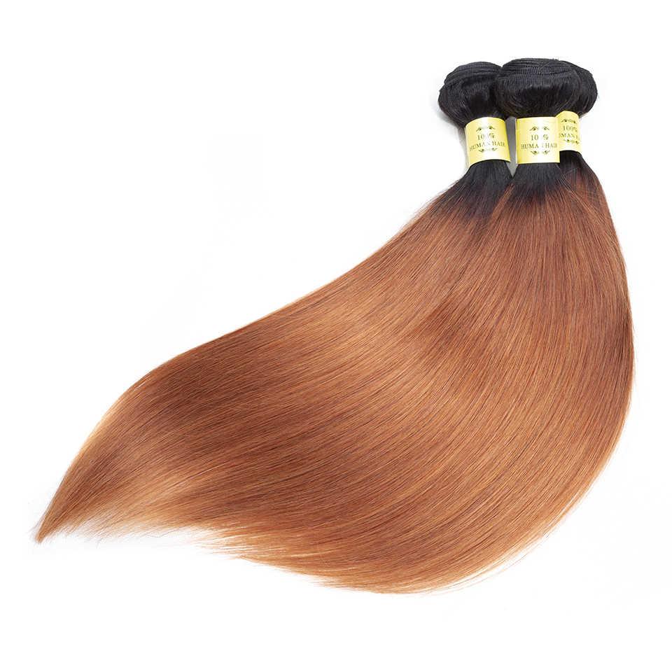 QueenLike продукты человеческих волос 3 4 пучки волос от светлого до темного цвета с закрытием не Реми Цвет 1B 30 перуанские прямые пучки волос с закрытием