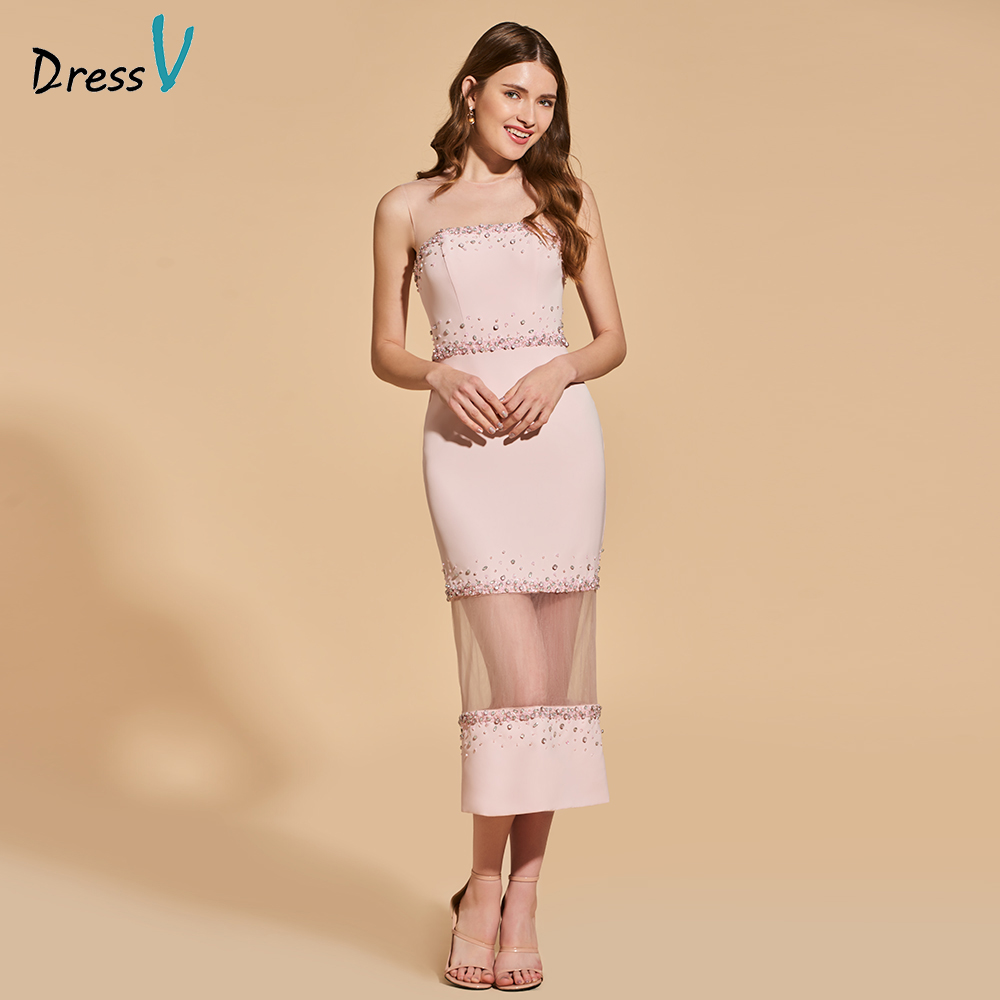 Dressv pearl pink   cocktail     dress   elegant scoop neck tea length zipper up sheath wedding party formal   dress     cocktail     dress