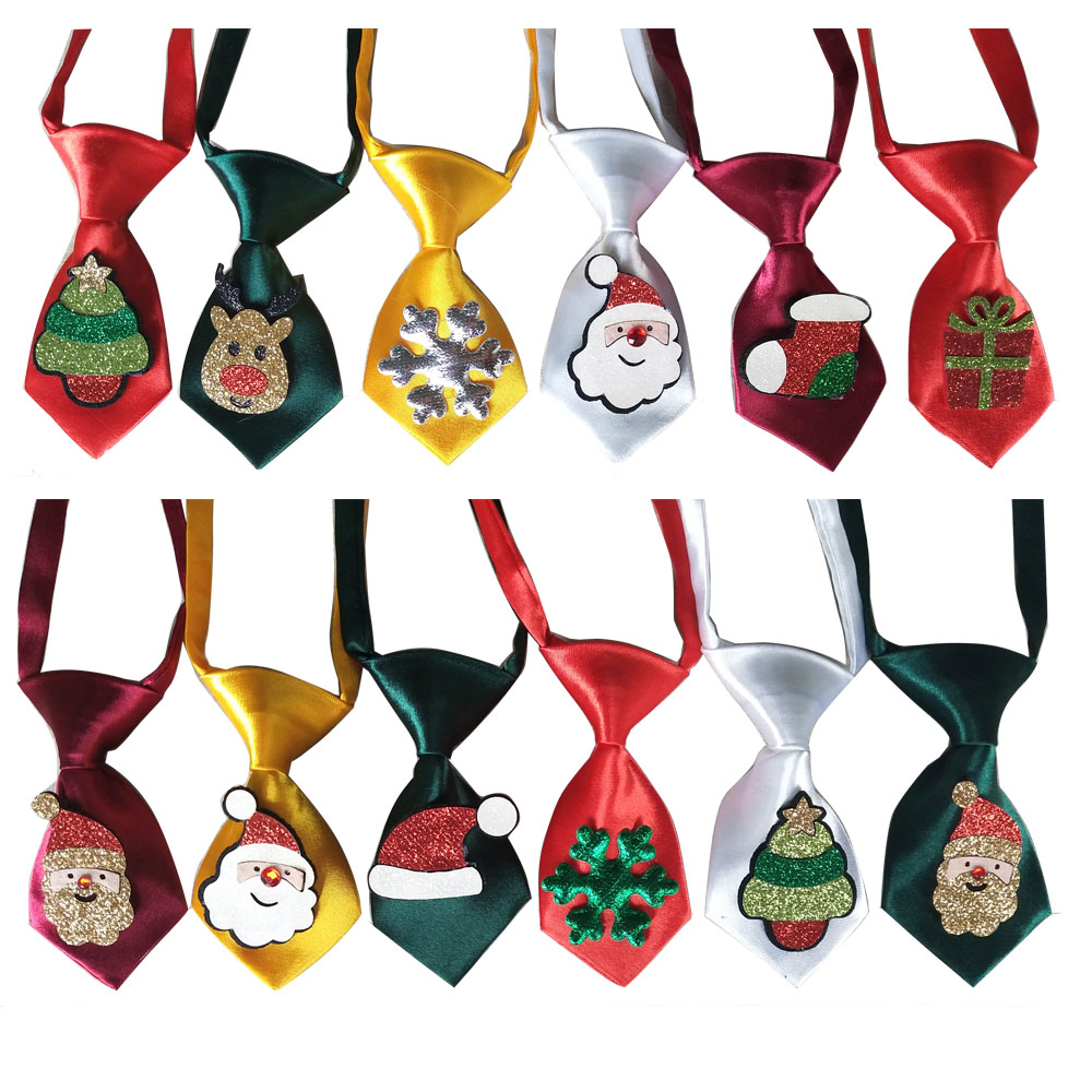 50pcs Christmas Pet Supplies Shining Middle Dog Neckties Bowties Snowman Deer Samll Dog Ties Pet Holiday Grooming Accessories