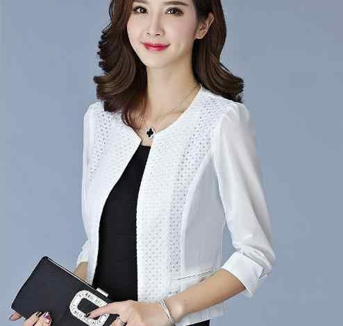 2019 여름 비즈니스 여성 거즈 메쉬 카디건 짧은 재킷 jaqueta feminina 숙녀 블랙/화이트 중공 얇은 outwear e853