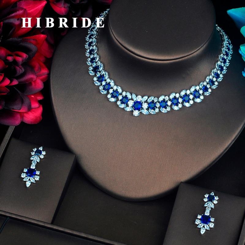 HIBRIDE Luxury Wreath Shape Inlaid Blue CZ Pave Shiny Women Jewelry Sets Necklace Sets Dress Accessories