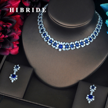 HIBRIDE Luxury Wreath Shape Inlaid Blue CZ Pave Shiny Women Jewelry Sets Necklace Sets Dress Accessories Wholesale Price N-405