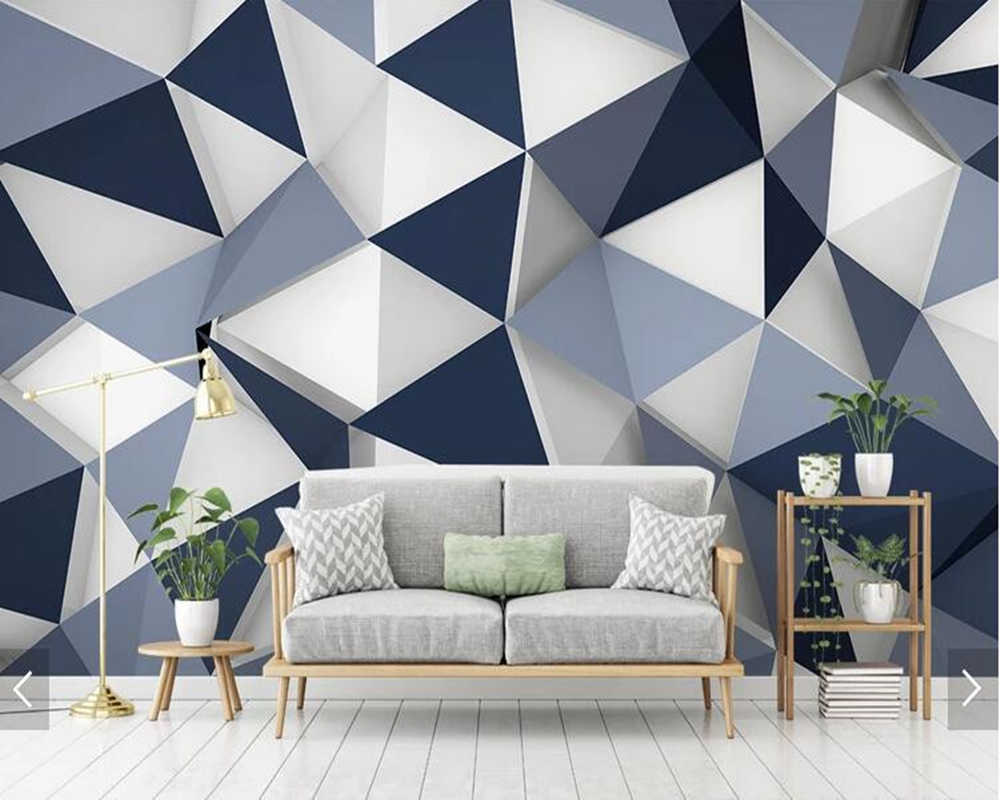 Customized simple 6D wallpaper, geometric diamond murals for